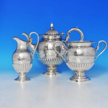 B0257: Antique Sterling Silver Three Piece Tea Set - Roberts & Belk Hallmarked In 1876 Sheffield - Victorian - Image 1