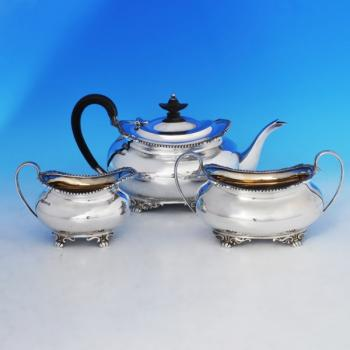 B0399: Antique Sterling Silver Three Piece Tea Set - Henry Atkins Hallmarked In 1911 Sheffield - George V - Image 1