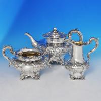 B0623: Antique Sterling Silver Three Piece Tea Set - William Hunter Hallmarked In 1846 London - Victorian - Image 1
