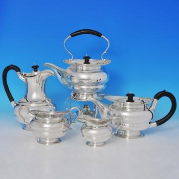 B0730:  Sterling Silver Five Piece Tea Set - Goldsmiths & Silversmiths Co. Hallmarked In 1922 London - George V - Image 1