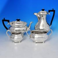 B1009:  Sterling Silver Four Piece Tea Set - J. Parkes & Co. Hallmarked In 1912 Sheffield - George V - Image 1