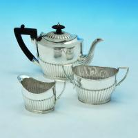 B1607: Antique Sterling Silver Three Piece Tea Set - James Deakin & Sons Hallmarked In 1894 Sheffield - Victorian - Image 1