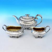 B1625: Antique Sterling Silver Three Piece Tea Set - Joseph Angell Hallmarked In 1824 London - Georgian - Image 1