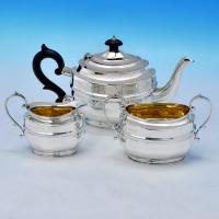 B1798:  Sterling Silver Three Piece Tea Set - Charles Edwards Hallmarked In 1929 London - George V - Image 1