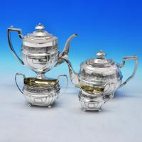 B1817: Antique Sterling Silver Four Piece Tea Set - Napthali Hart Hallmarked In 1812 London - Georgian - Image 1