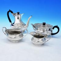 B1837: Antique Sterling Silver Four Piece Tea Set - Barnard Brothers Hallmarked In 1903 London - Edwardian - Image 1