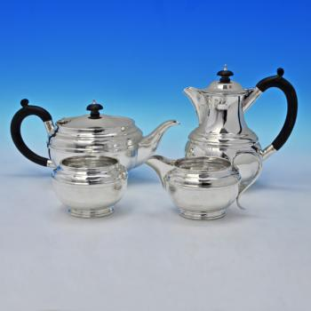 B1953:  Sterling Silver Four Piece Tea Set - Goldsmiths & Silversmiths Co. Hallmarked In 1933 London - George V - Image 1
