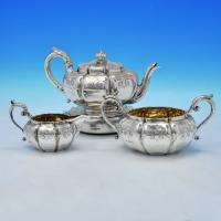 B2050: Antique Sterling Silver 4 Piece Tea Set - Paul Storr Hallmarked In 1834 London - William IV - Image 1