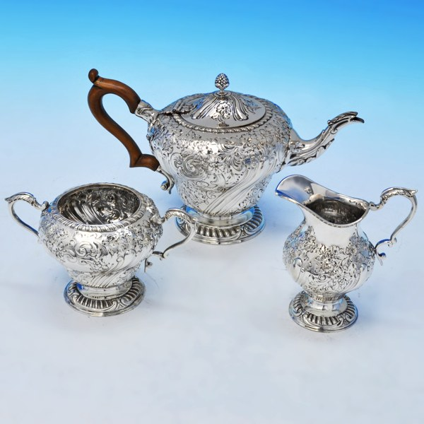 B2099: Antique Sterling Silver Three Piece Tea Set - Charles Stuart Harris Hallmarked In 1901 London - Victorian - Image 1