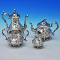 B2131: Antique Sterling Silver Four Piece Tea Set - Martin Hall & Co. Hallmarked In 1873 London - Victorian - Image 1