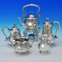 B2135: Antique Silver Plate Five Piece Tea Set - Robert Hennell II Hallmarked In 1856 London - Victorian - Image 1