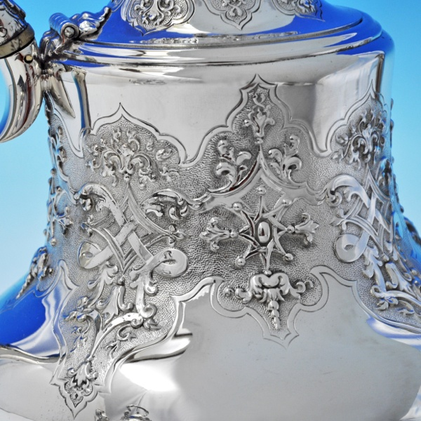 B2135: Antique Silver Plate Five Piece Tea Set - Robert Hennell II Hallmarked In 1856 London - Victorian - Image 3
