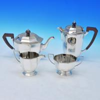 B2226:  Sterling Silver Four Piece Tea Set - Mappin & Webb Hallmarked In 1934 Sheffield - George V - Image 1
