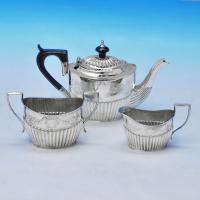B2243: Antique Sterling Silver Three Piece Tea Set - Barker Brothers Ltd Hallmarked In 1894 Birmingham - Victorian - Image 1
