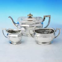 B2312:  Sterling Silver Three Piece Tea Set - Horace Woodward & Co Hallmarked In 1919 Birmingham - George V - Image 1