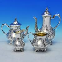 B2344: Antique Sterling Silver Four Piece Tea And Coffee Set - Hayne & Cater Hallmarked In 1860 London - Victorian - Image 1