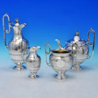 B2539: Antique Sterling Silver Tea Sets - Roberts & Belk Hallmarked In 1875 Sheffield - Victorian - Image 1