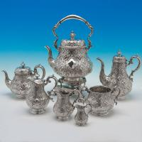 B2853: Antique Sterling Silver Seven Piece Tea Set - Robert Hennell Hallmarked In 1861 London - Victorian - Image 1