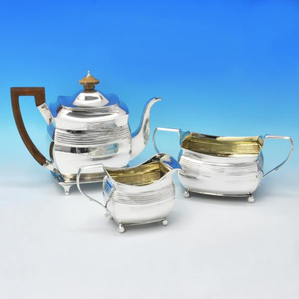B3145: Antique Sterling Silver Four Piece Tea Set - A. & G. Burrows Hallmarked In 1807 London - Georgian - Image 1