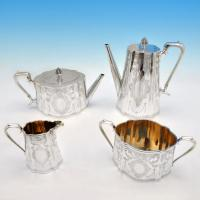 B4573: Antique Sterling Silver Four Piece Tea Set - A. B. Savoury & Sons Hallmarked In 1880 London - Victorian - Image 1