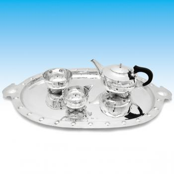 B6021: Antique Sterling Silver Three Piece Tea Set And Tray - A. E. Jones Hallmarked In 1910 Birmingham - Edwardian - Image 1
