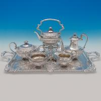 B6215: Antique Sterling Silver Five Piece Tea Set And Tray - Hancocks Hallmarked In 1905 London - Edwardian - Image 1