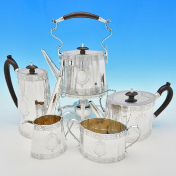 B7241: Antique Sterling Silver Five Piece Tea Set - Mappin & Webb Hallmarked In 1915 Sheffield - George V - Image 1