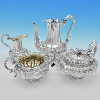 B7351: Antique Sterling Silver Four Piece Tea Set - J. C. Edington Hallmarked In 1833 London - William IV - Image 1