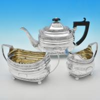 B7367: Antique Sterling Silver Three Piece Tea Set - A. & G. Burrows Hallmarked In 1808 London - Georgian - Image 1