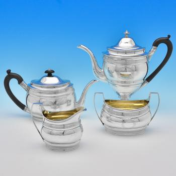 B8374: Antique Sterling Silver Tea Sets - Robert & David Hennell Hallmarked In 1799 London - Georgian - Image 1