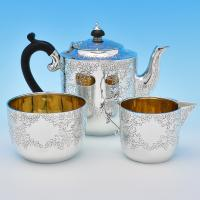 B8458: Antique Sterling Silver Tea Sets - Ackroyd Rhodes Hallmarked In 1892 London - Victorian - Image 1