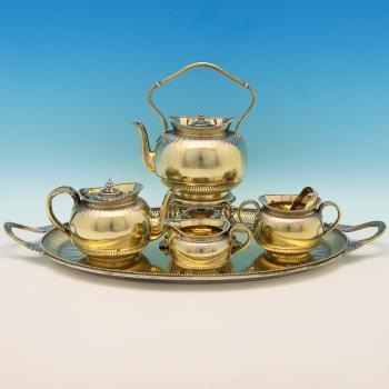 B9037: Antique Sterling Silver Tea Set - George Fox Hallmarked In 1873 London - Victorian - Image 1