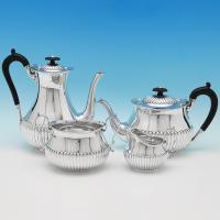 B9572: Antique Sterling Silver Tea Set - Martin Hall & Co. Hallmarked In 1893 Sheffield - Victorian - Image 1