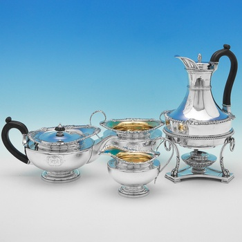 B9622: Antique Sterling Silver Tea Set - Paul Storr Hallmarked In 1813 London - Georgian - Image 1