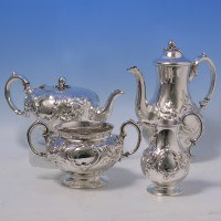 d2236: Antique Sterling Silver Tea Set - William Smily Hallmarked In 1854 - Victorian - image 1