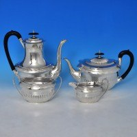 d2512: Antique Sterling Silver Four Piece Teaset - Walker & Hall Hallmarked In 1890 Sheffield - Victorian - image 1