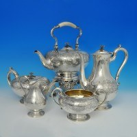 d6850: Antique Sterling Silver Five Piece Tea And Coffee Service - J. C. Edington Hallmarked In 1861 London - Victorian - image