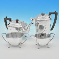D9341:  Sterling Silver Four Piece Tea Set - Mappin & Webb Hallmarked In 1925 Sheffield - George V - Image 1