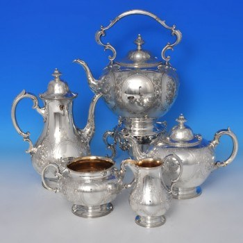 e3770: Antique Sterling Silver Five Piece Tea And Coffee Set - Barnard Brothers Hallmarked In 1862 London - Victorian - image 1
