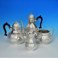 e4287: Antique Sterling Silver Tea Sets - A. B. Savoury & Sons Hallmarked In 1864 London - Victorian - image 2