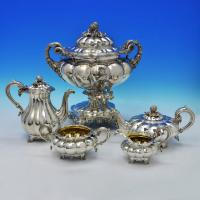 E4579: Antique Sterling Silver Five Piece Tea And Coffee Service - Barnard Brothers Hallmarked In 1828 London - Georgian - Image