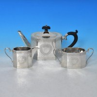 e4874: Sterling Silver Tea Sets - Hallmarked In 1922 Birmingham - George V  - image 2