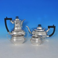 e8577: Sterling Silver Four Piece Tea Set - J B Chatterley Hallmarked In 1943 Birmingham - George VI  - image 1