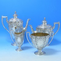e9022: Antique Sterling Silver Tea Set - Martin Hall & Co. Hallmarked In 1876 London - Victorian - image 1
