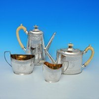 j5920: Antique Sterling Silver Four Piece Tea Set - James Johnson & John Walker Hallmarked In 1881 London - Victorian - image 1