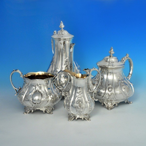 J6173 Antique Sterling Silver Four Piece Tea And Coffee Service Hallmarked In 1853 London