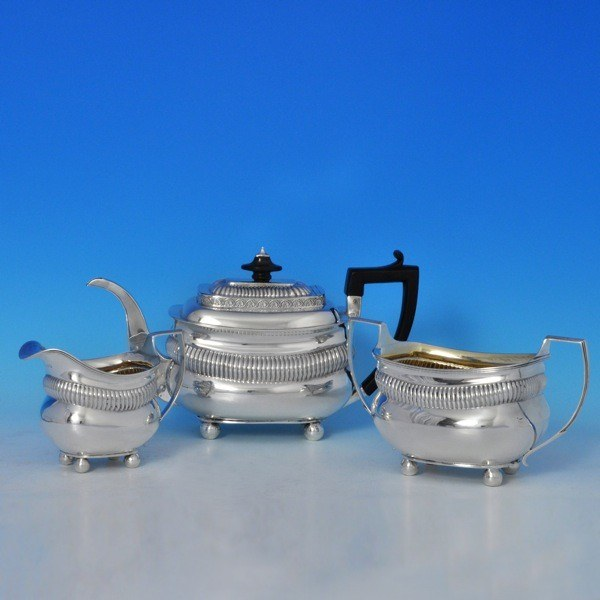 j7112: Antique Sterling Silver Three Piece Tea Set - Charles Hollinshed Hallmarked In 1810 London - George III Georgian - image