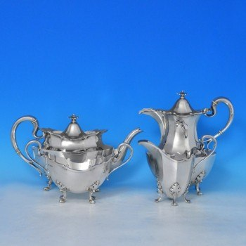 j7631: Sterling Silver Four Piece Tea Set - Henry Atkins Hallmarked In 1940 Sheffield - George VI  - image 1