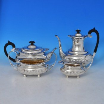 j8829: Antique Sterling Silver Four Piece Teaset - Barnard Brothers Hallmarked In 1896 London - Victorian - image 1