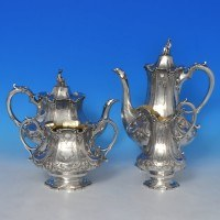 j9307: Antique Sterling Silver Four Piece Teaset - Barnard Brothers Hallmarked In 1846 London - Victorian - image 1